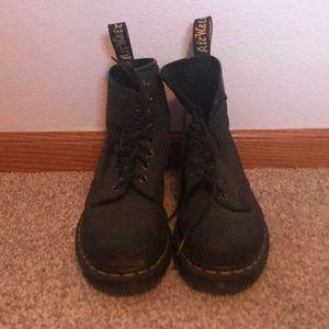 Snake skin black doc marten boots